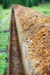 Close up of agricultural drainage trench