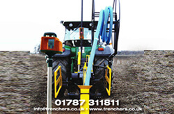 Trenching machine in yellow